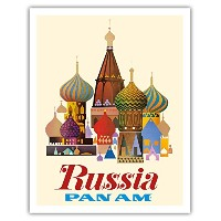 Russia – Pan American World Airways – Saint Basil 's Cathedral , Moscow – オニオンドーム – ヴィンテージAirline...