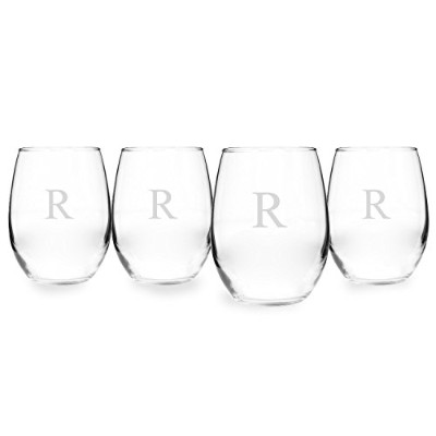Cathy's Concepts Personalized 21 oz. Stemless White Wine Glasses, Set of 4, Letter R [並行輸入品]