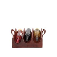 Deco 79 95908 Wood Real Leather Wine Holder, 15' by 5' [並行輸入品]