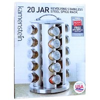 Kamenstein 20 Jar Stainless Steel Revolving Spice Tower - Filled with 20 Premium Spices Plus Free...