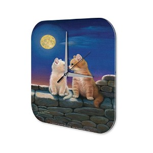 Wall Clock Cat Wall full moon Printed Acryl Plexiglass Retro