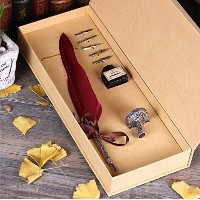 Calligraphy Set - Antique Copper Feather Pen Metal Nib Pen Writing Quill(Wine Red)