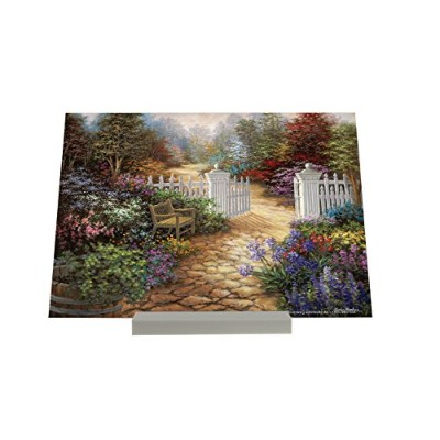 Picture Frame Fun Rative idyllic colorful flower garden bench white fence Composite Plate Retro