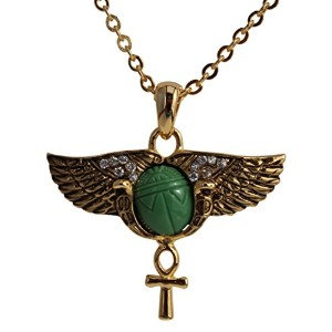 Egyptian Scarab Wings Ankhペンダントネックレス