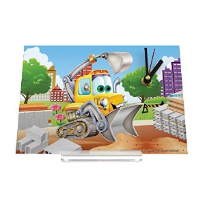 Desk Clock 置時計 Lustiges Comic excavator construction site Retro Decoration