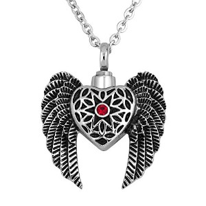 Angel Wings Cremation Necklaces for灰赤クリスタルハートUrnネックレス記念品メモリアルペンダント