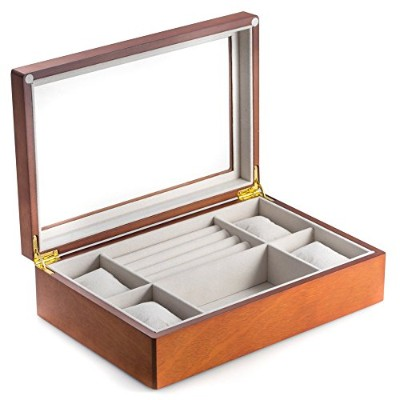 bey-berk Watch Box with Glass Top ブラウン