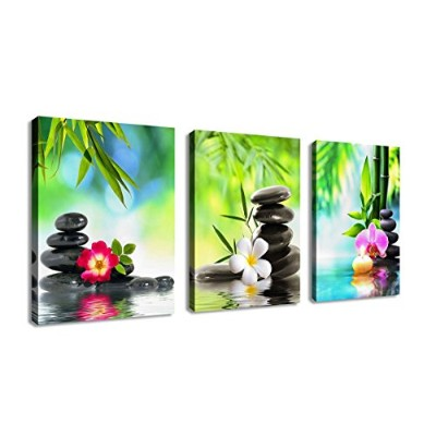 (30cm x 41cm 3P, Zen Art B) - Wall Art Canvas Zen Art Decor SPA Stone Green Bamboo Pink Waterlily and Frangipani Pictures - 3 Panels Modern Canvas Painting Prints Giclee Art for Home Office and Kitchen Framed Ready to Hang