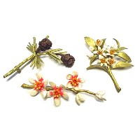 Set of 3 Pins/brooches By Michael Michaud for Silver Seasons- Orange Blossom, Almond Blossom, &...