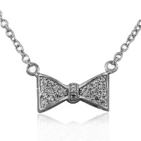 925 Sterling Silver Bow Tie Charm White CZ Womens Pendant Necklace with Chain