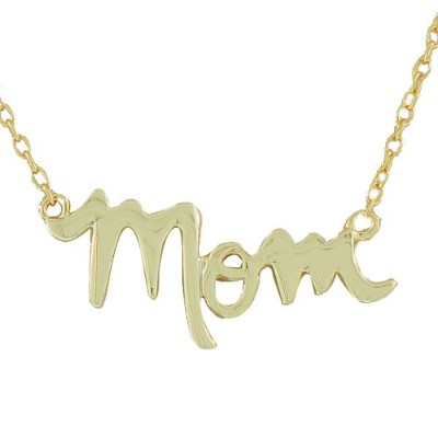 925 Sterling Silver Yellow Gold-Tone Mom Mother Charm Classic Pendant Necklace with Chain