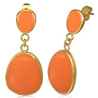 Stainless Steel Yellow Gold-Tone Orange Enamel Large Stud Dangle Drop Earrings