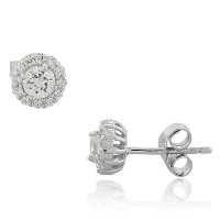 925 Sterling Silver White CZ Womens Round Stud Earrings