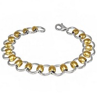 Stainless Steel Two-Tone Circle Womens Link Chain Bracelet
