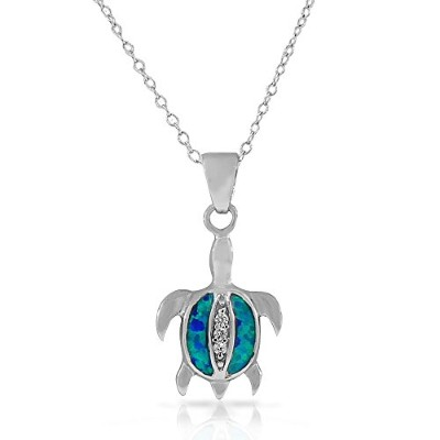925 Sterling Silver White CZ Blue Turquoise-Tone Simulated Opal Turtle Pendant Necklace