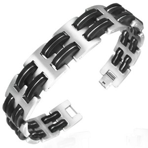 Stainless Steel Two-Tone Mens Link Bracelet