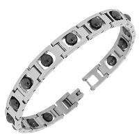 Stainless Steel Silver Black Two-Tone Beaded Link Chain Mens Bracelet with Clasp
