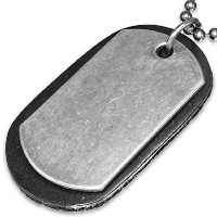 Fashion Alloy Black Leather Double Military Dog Name Tag Mens Pendant Necklace with Chain