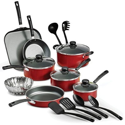 18 Piece Nonstick Pots & Pans調理器具セット料理キッチン台所用品新しい NOT APPLICABLE レッド