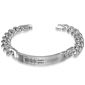 Stainless Steel Silver-Tone Mens Religious Cross Link Chain Bracelet with Clasp