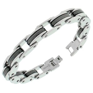 Stainless Steel Silver-Tone Black Link Chain Mens Bracelet with Clasp