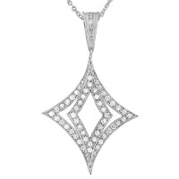 925 Sterling Silver Large White CZ Womens Pendant Necklace with Chain