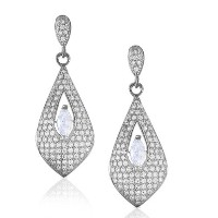925 Sterling Silver Marquise Round White CZ Womens Dangle Earrings