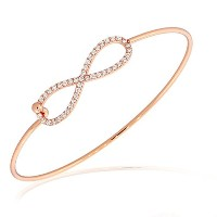 925 Sterling Silver Rose Gold-Tone Infinity White CZ Bangle Bracelet