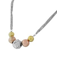 Stainless Steel Silver-Tone Gold-Tone Necklace Bracelet Set