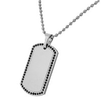 Stainless Steel Silver-Tone Black CZ Dog Tag Necklace Pendant with Chain