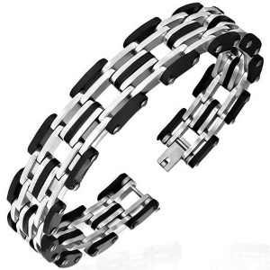 Stainless Steel Black Rubber Silicone Silver-Tone Link Chain Mens Bracelet