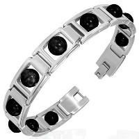 Stainless Steel Silver-Tone Black Glass Beads Link Mens Bracelet with Clasp