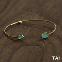 【TAI JEWELRY[タイジュエリー] 】MINT COLORED GLASS GOLD OPEN CUFF  カフ ブレスレット