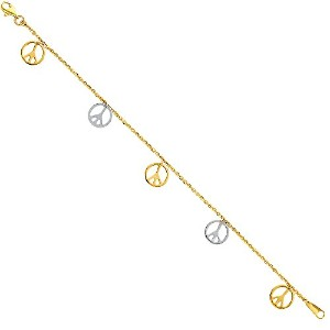 """Wellingsale ® 14K 2つ2トーンホワイトとイエローゴールド光沢ピースサインDangle Bracelet with Lobster Claw Clasp–7.5"""""""