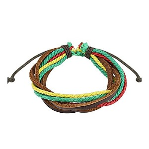 ブラウンwith Triple Colored Rastaレザーブレスレットwith Drawstrings