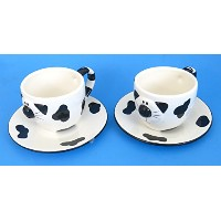 Cup and Saucer Set , Catデザイン、Includes 3カップと2Saucers、21のセールス、bjuy 2設定、Get 2設定フリー