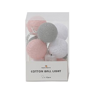 [roomnhome] ボール型ライト イルミネーションライト Cotton Ball Light 10/セット パーティー コットン ボール LED (S, Pink)