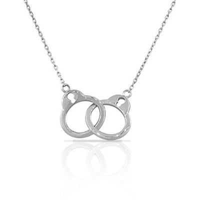 925 Sterling Silver Handcuff Charm Womens Pendant Necklace with Chain