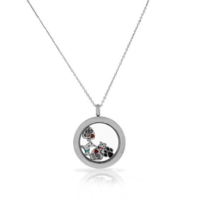 EDFORCE Stainless Steel Silver-Tone Pet Animal Cat Dog Locket Pendant Necklace - Charms Included