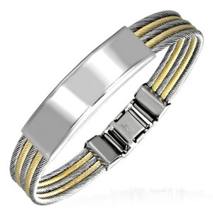 Stainless Steel Two-Tone Name Tag Mens Bracelet