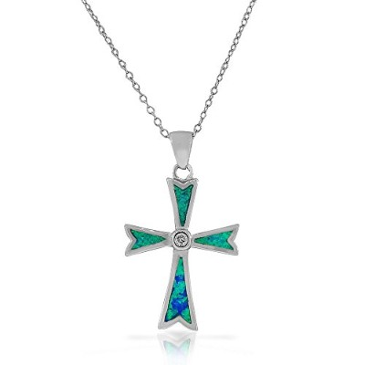 925 Sterling Silver Religious Cross Blue Turquoise-Tone Simulated Opal CZ Pendant Necklace