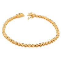925 Sterling Silver Yellow Gold-Tone Bezel-Set White CZ Womens Tennis Bracelet