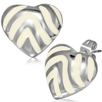 Stainless Steel White Silver-Tone Love Heart-Shaped Womens Girls Stud Earrings