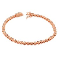 925 Sterling Silver Rose Gold-Tone Bezel-Set White CZ Womens Tennis Bracelet