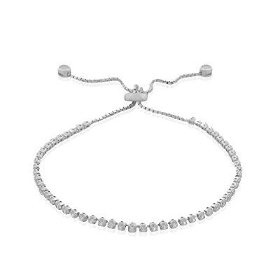 925 Sterling Silver White Clear CZ Adjustable Strand Bracelet