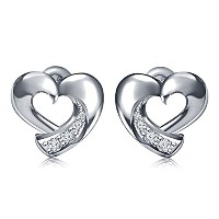 Vorra Fashion Round Cubic Zirconia Platinum Plated 925 Silver Heart Stud Earrings For Women's