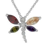 925 Sterling Silver Multicolor CZ Dragonfly Pendant Necklace Chain