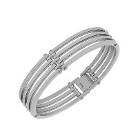 Stainless Steel Silver-Tone Round Bangle Bracelet