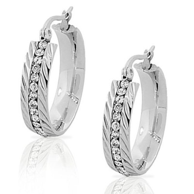 """Stainless Steel Silver-Tone Faceted White CZ Classic Hoop Earrings .90"""" Diameter"""