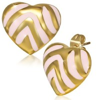 Stainless Steel Pink Yellow Gold-Tone Love Heart-Shaped Stud Earrings